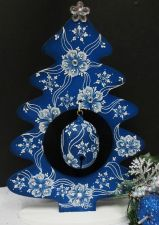 Blue Swirl Christmas Tree and Bell Ornament